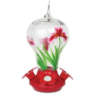 Floral Glass Hummingbird Feeder Thumbnail