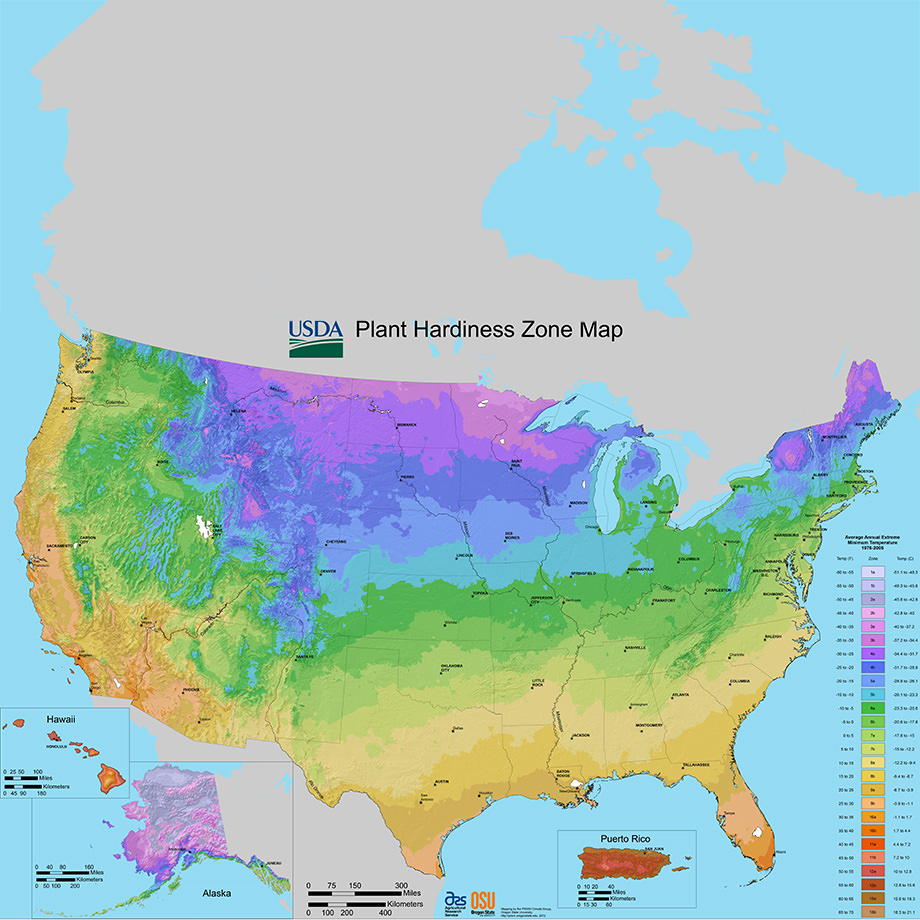 Image of US showing the various hardiness zones