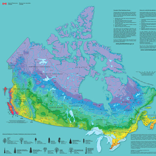 Image of Canada showing the various hardiness zones